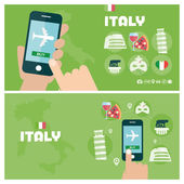 Modern banner vector illustration icons set of italy traveling planning a summer vacation Flat design style Vector