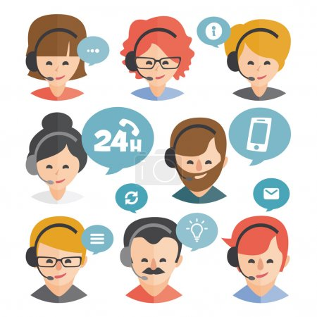 Call center operator with headset web icon design. Call center avatar set. Client services and communication, customer support, phone assistance, information, solutions. Vector