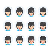 Isolated set of woman avatar expressions Emoji icons representing lots of reactions personalities and emotions
