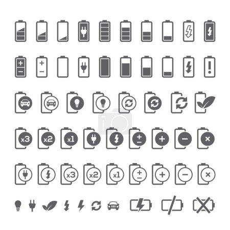 Illustration pour Icône ensemble d'indicateurs de niveau de charge de la batterie pour interface. Illustration vectorielle . - image libre de droit