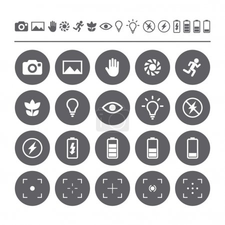 Icon set camera viewfinder display. Flat isolated icons