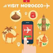 Buy ticket. Morocco Flat Icons Design Travel Concept. Adventure travel. Vector