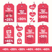 Set of Valentines Day labels flat design elements Discounts sales and offers