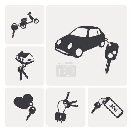 different keys set icons. rent a car, rent a a motorbike, hotel key, padlock key...