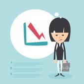 Businesswoman frustrated with decrease arrow chart. Economic crisis concept. Vector illustration