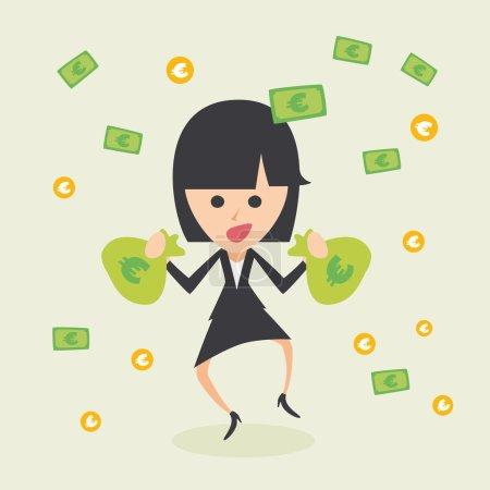 Illustration pour Femme d'affaires se réjouissant de son succès avec des euros volant dans les airs - image libre de droit