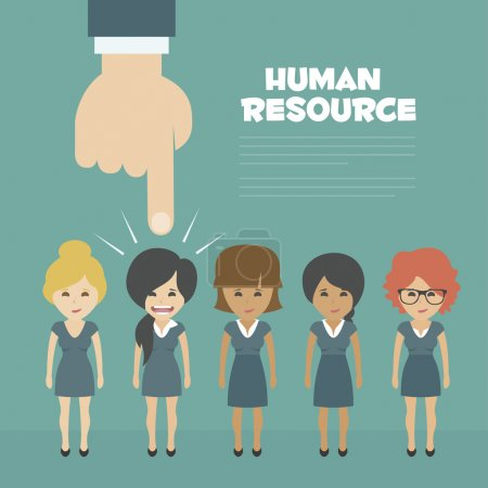 Vector Recruitment concept, human resources concept - hand holding man icon