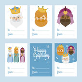 Collection of 6 Christmas card templates. Vector illustration. Template for Greeting Scrap booking, Congratulations, Invitations. Blue. Happy Epiphany