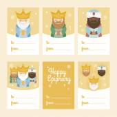 Collection of 6 Christmas card templates. Vector illustration. Template for Greeting Scrap booking, Congratulations, Invitations. Yellow. Happy Epiphany
