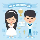 A pair of children boy and girl making first communion Vector Element Set on a blue background Written in Spanish