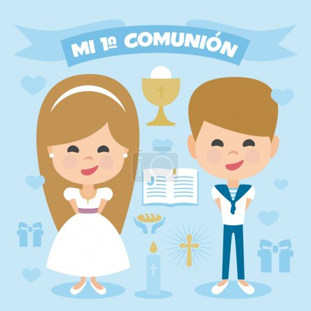 A pair of children, blonde boy and girl, making first communion. Vector Element Set on a blue background. Written in Spanish