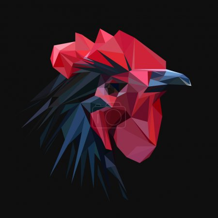 Rooster chicken low poly design.