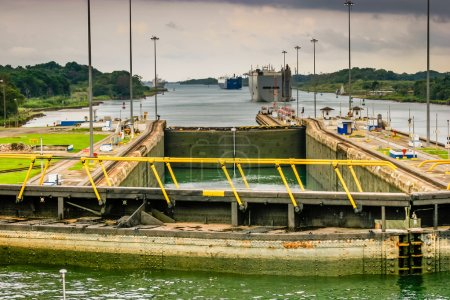 View from the bridge of a ship in a lock in the Panama Canal