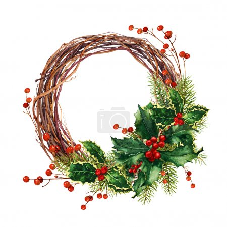 Photo for Watercolor Christmas wreath - Royalty Free Image