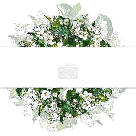Photo pour Couronne décorative avec fleurs de pomme aquarelle et contour - image libre de droit