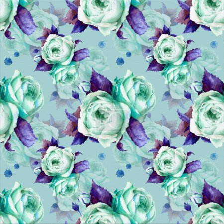 Photo for Seamless pattern with watercolor roses; background - Royalty Free Image
