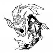 Koi fish; ying yang symbol; feng shui