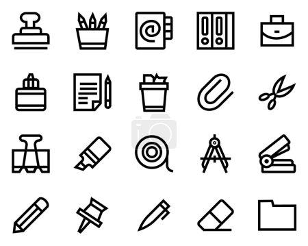 Stationery line icon set.