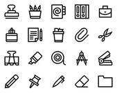 Stationery line icon set.