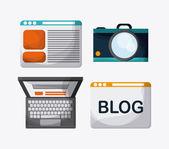 Blogování konstrukce. Ikona média. Barevné ilustrace, vektor