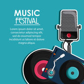Festivalové ikona mikrofonu vinylové hudební zvuková média