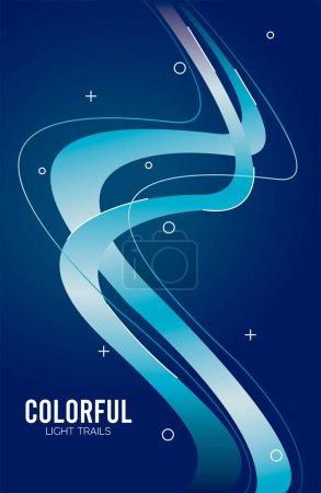 Illustration pour Sentier lumineux coloré en fond bleu vectoriel illustration design - image libre de droit