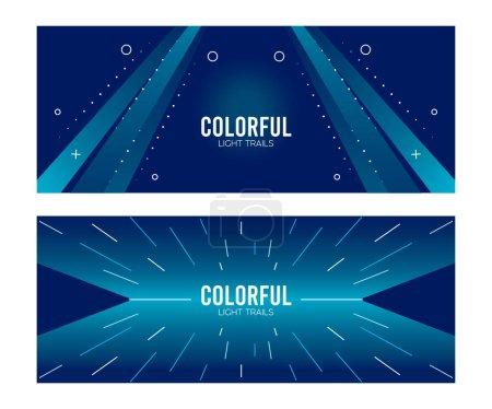 Illustration pour Sentier lumineux coloré dans des milieux bleus conception d'illustration vectorielle - image libre de droit