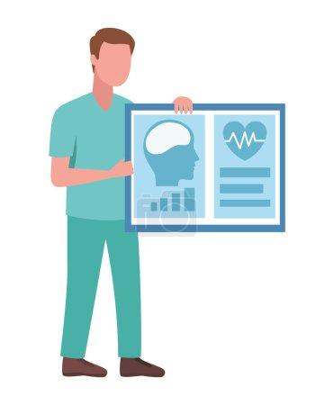 Illustration pour Médecin masculin avec des tests de diagnostic - image libre de droit