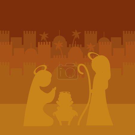 Illustration pour Joyeux Noël concept avec la conception de la famille sainte, illustration vectorielle 10 eps graphique . - image libre de droit