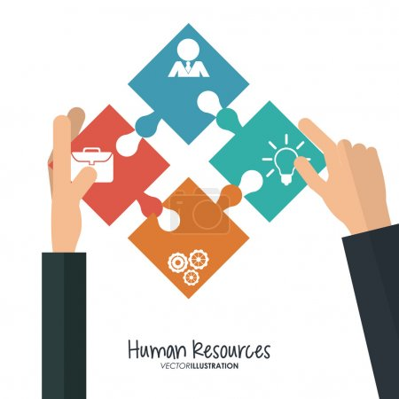 Illustration for Human resources concept with office icons design, vector illustration 10 eps graphic - Royalty Free Image