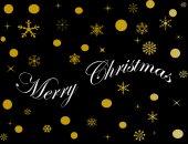 Veselé Vánoce s golden dekorace na černém pozadí