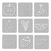 Paper set of fruits icons Papery stickers with apple grape cherry pear ananas orange watermelon strawberry Signs for web design
