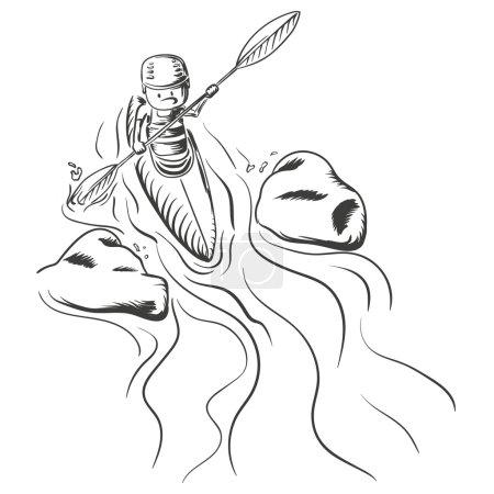 Hand drawn illustration of kayaking