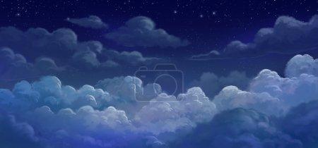 Photo pour Illustration ciel et colund la nuit - image libre de droit