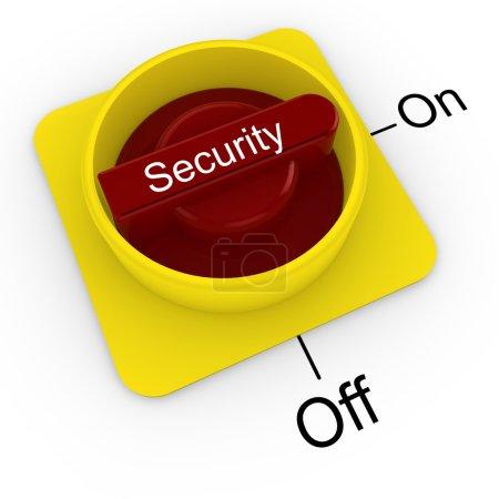Foto de Mando giratorio con la palabra seguridad en rojo y amarillo activado aislado en la ilustración 3D blanca - Imagen libre de derechos