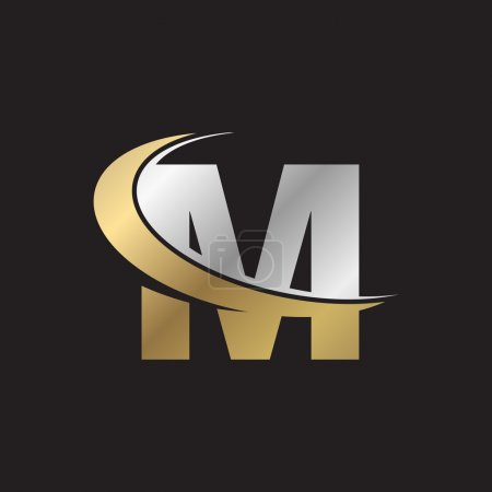 letter M swoosh silver gold logo black background