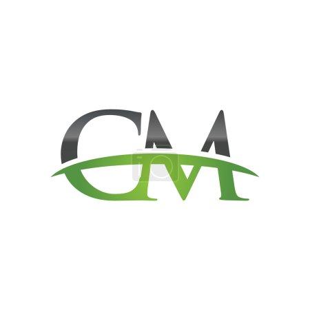 Initial letter CM green swoosh logo swoosh logo