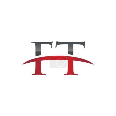 Illustration pour Lettre initiale FT avec modèle de logo swoosh - image libre de droit