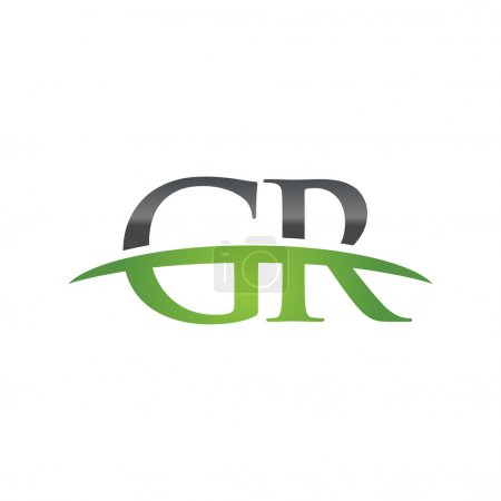 Letra inicial GR verde swoosh logo swoosh logo