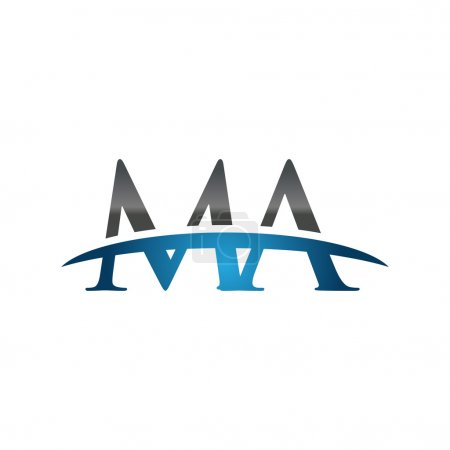 Initial letter MA blue swoosh logo swoosh logo