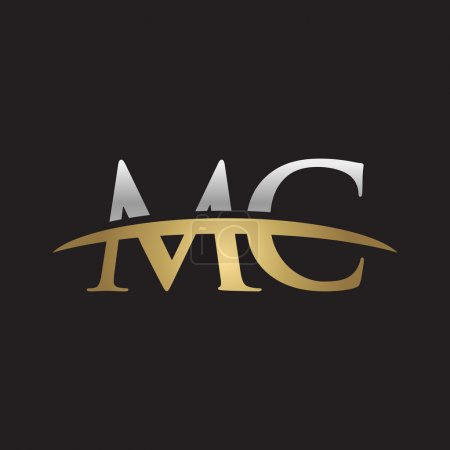 Initial letter MC with swoosh logo template