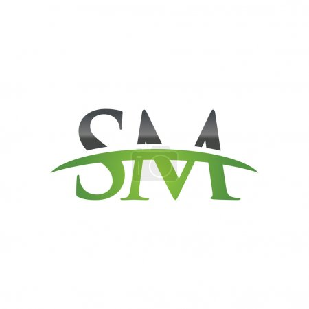 Initial letter SM green swoosh logo swoosh logo