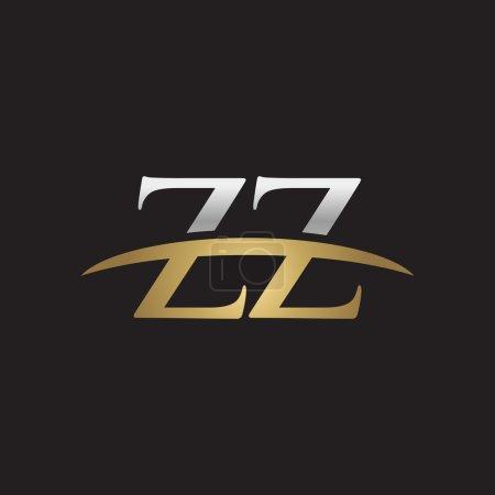 Initial letter ZZ silver gold swoosh logo swoosh logo black background