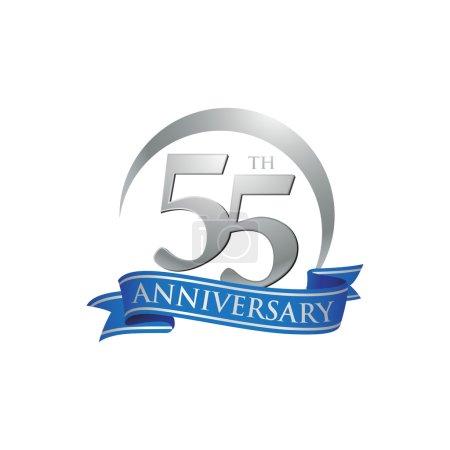55th anniversary ring logo blue ribbon