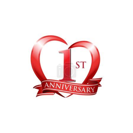 1st anniversary logo red heart