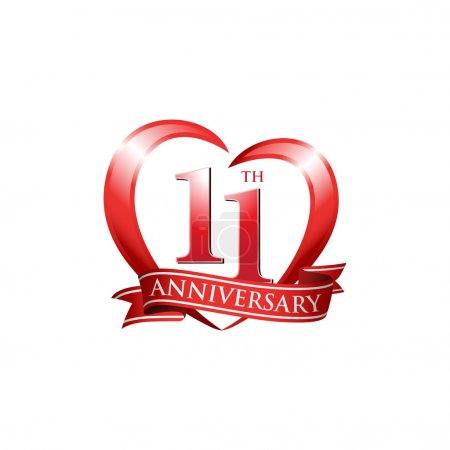 11th anniversary logo red heart