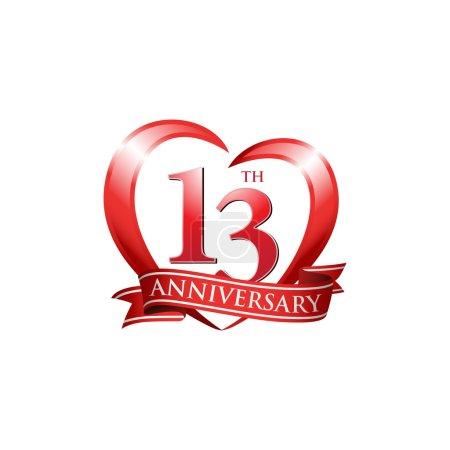 13th anniversary logo red heart