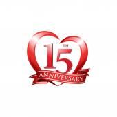 15th anniversary logo red heart