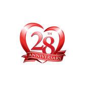 28th anniversary logo red heart