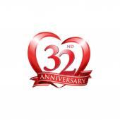 32nd anniversary logo red heart